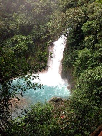 Rio Celeste : Vista desde escaleras hacia la cascada