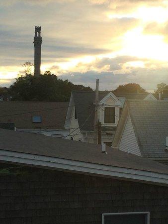 Benchmark Inn : Sunset view of Pilgrim Monument from Room 4