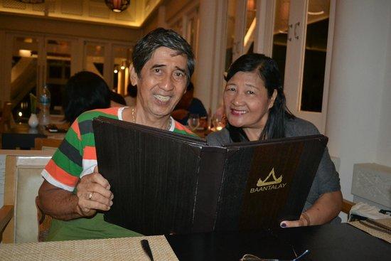 Baan Thalay Restaurant, Angsansa Laguna Resort: the menu book