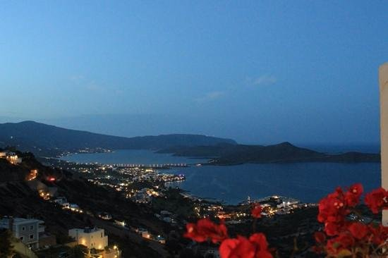 Adrakos Apartments: the view from our apartment at dusk