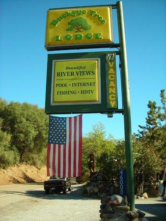 Three Rivers, CA: Hotel roadside sign