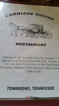 Carriage House Restaurant: menu