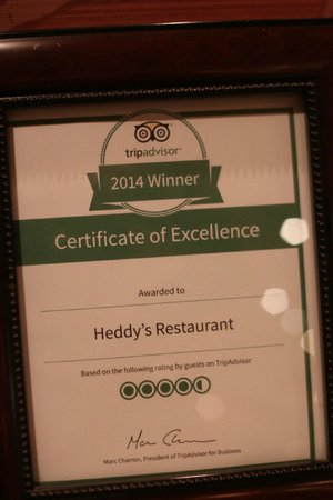 Heddy's Restaurant: Certificate of Excellence