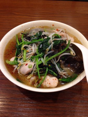 Peaceful Restaurant: Spicy chicken with fresh noodles.