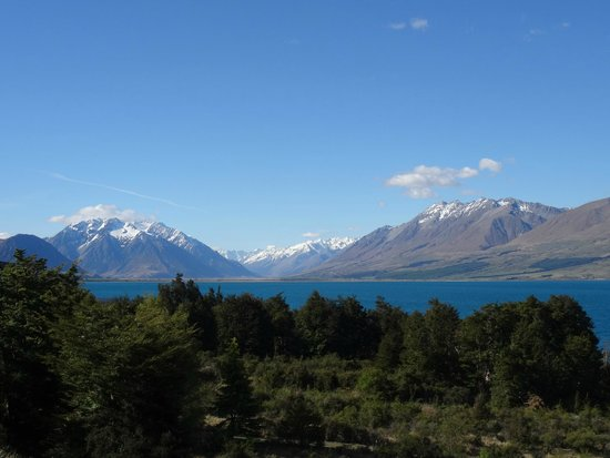 The view from the deck at Lake Ohau Lodge