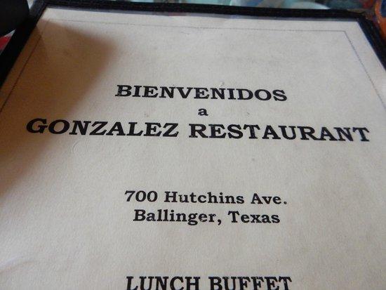 Ballinger, TX: menu