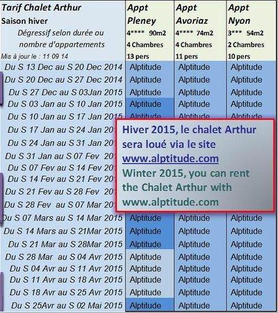 Chalet Arthur: Tarifs et gestion du chalet