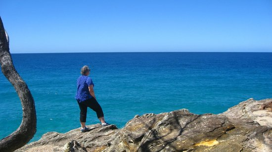 North Gorge Walk: Anna waiting for whales to emerge and our picnic spot