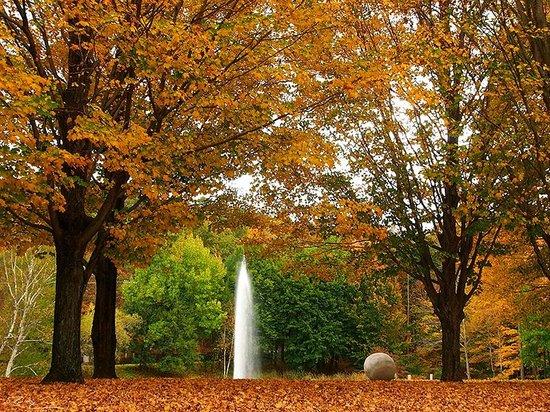 Boscobel House & Gardens : En la entrada hay un lago pequeño con una fuente y árboles llenos de colores.