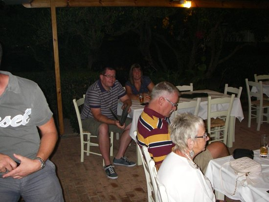 Lefka Apartments: Chilling out after a fantastic meal