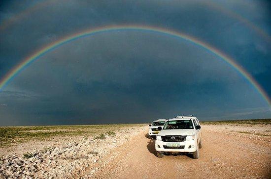 Etosha National Park, Namibia: Rainbow at Etosha Park