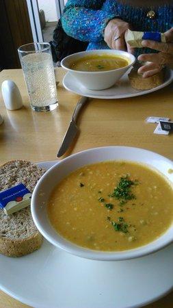 Threave Garden: superb soups..Lentil ......Carrot & Coriander