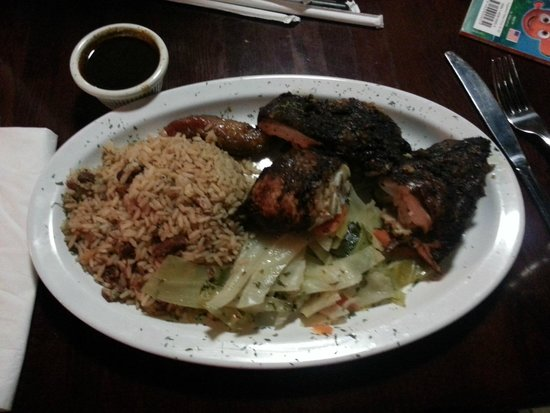 Jerk tofu lunch plate with side of rice peas cabbage for Auburn caribbean cuisine
