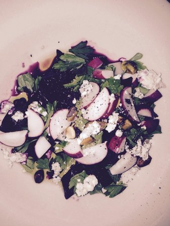 Black Cypress: Beet Salad with turnips, radishes, pistachios and blue cheese.