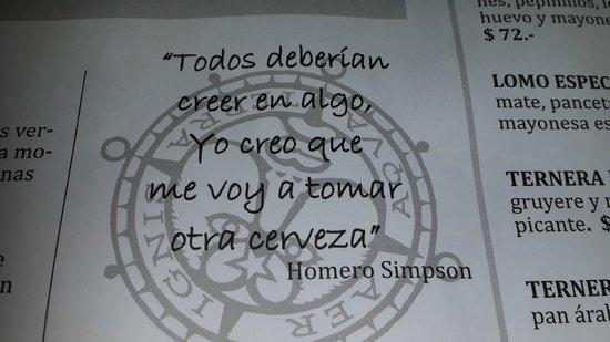 Frase De Homero En El Menú De Antares Picture Of Antares