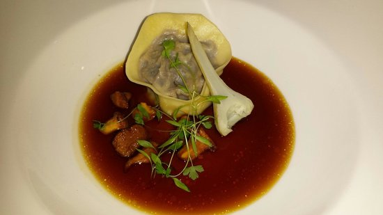 The Saddle Room Restaurant: Oxtail tortellini and consomme.