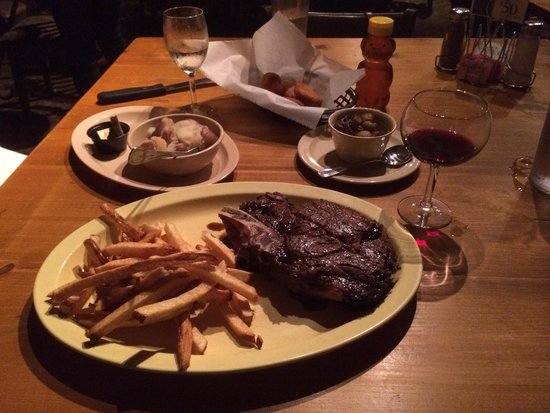 Doe's Eat Place: 2lb Ribeye, fries, sweet potatoes, side of delicious mushrooms and those great biscuit things w/