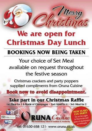 We are open for christmas day lunch picture of oruna for Are there any restaurants open on christmas day