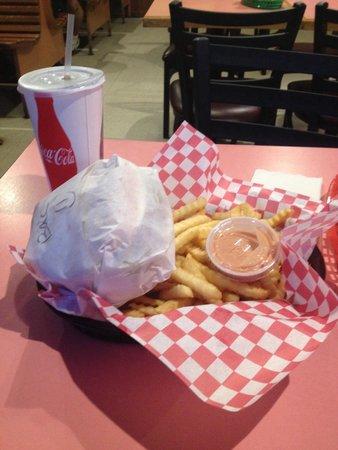 Country Burger & Teriyaki: Burger basket combo with yummy fry sauce.