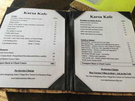 Menu Picture Of Karsa Cafe Ubud Tripadvisor