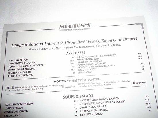 Morton's The Steakhouse : Personalized Menu
