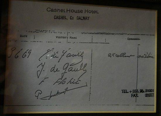 Cashel House Hotel : Signature du Général De Gaulle le 3 juin 1969