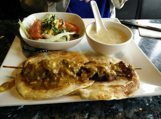 Saigon Star: Malaysian-style Lunch Combo with soup of the day, salad and fresh roti.