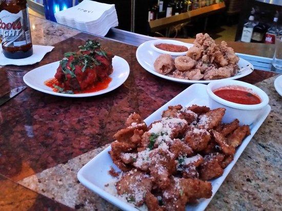 Trevi Italian Restaurant : meatballs, calamari & eggplant