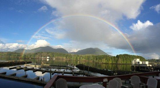 Eagle's Nest Marine Pub: the whole rainbow seen from the patio