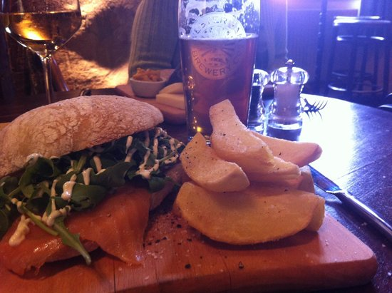 The Wheatsheaf at Bough Beech : Smoked salmon ciabatta