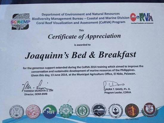 Certificate Of Appreciation - Picture Of Joaquinn'S Bed