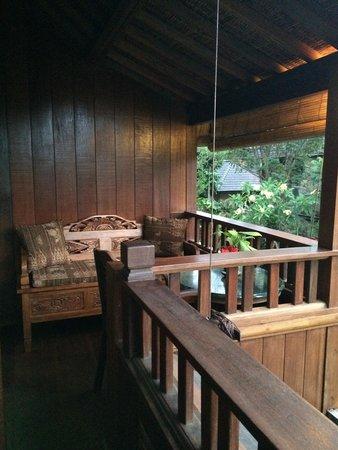 Ananda Cottages : Balcon vue sur piscine