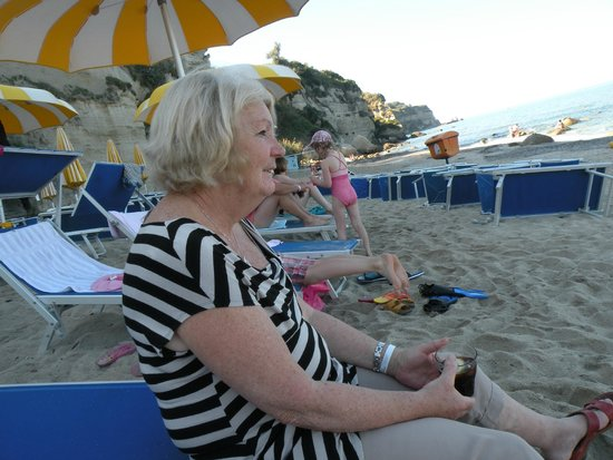 LABRANDA Rocca Nettuno Tropea: my wife sitting on the beach