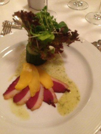 Restaurant Casino Bern: Aiguillettes de canard fumées et lamelles de mangue