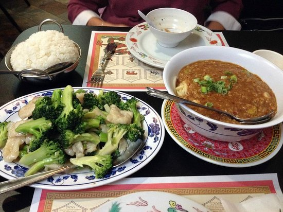 Hot Wok Bistro: Fish with broccoli and Tan Tan Noodles