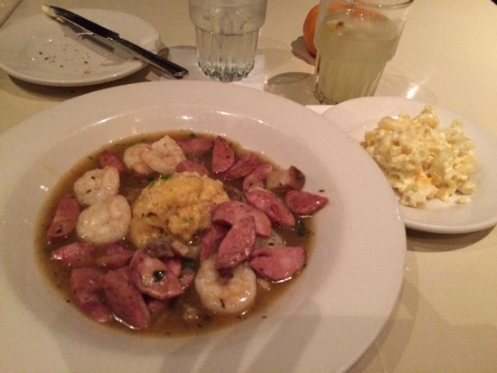 Lucky 32 Southern Kitchen: Shrimp, grits with sausage and Mac & cheese ...