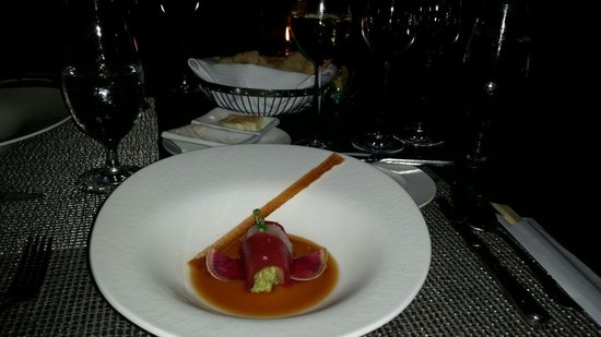 Azure Restaurant: The first course on the tasting menu - the sashimi was divine!