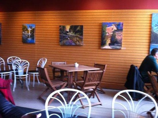 Cafe Creperie : Some artwork for sale inside the cafe