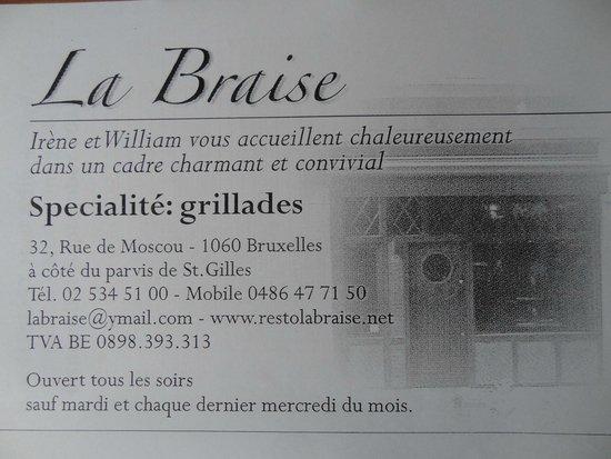La Braise Carte De Visite Du Resto