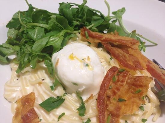 Trattoria Milano: carbonara, egg, ham!! how good does this look??