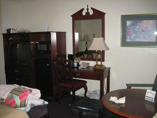 Dixie Palms Motel: The TV and desk area...not too bad
