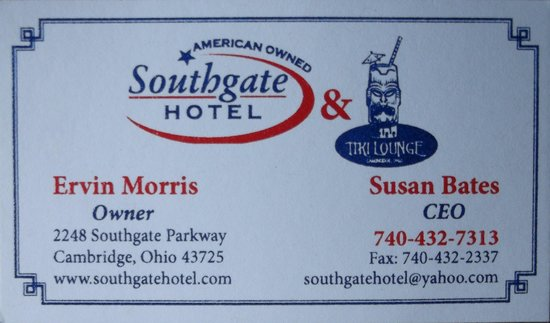 Southgate Hotel: Business card / $92.00 with tax in june 2014