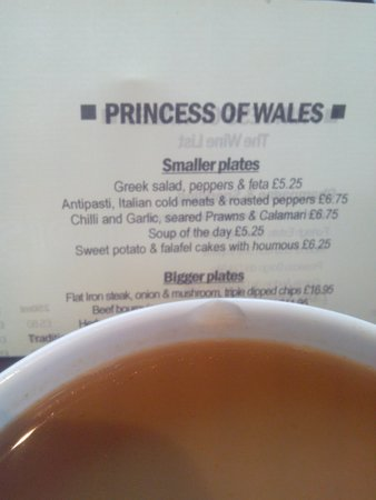 Princess of Wales: Appalling service. Cold food. Chipped cup and told 'only cup available'. Never again.