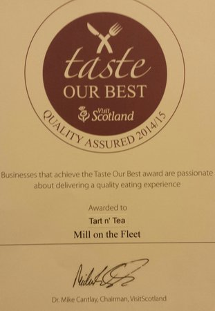 Tart n' Tea: after a mystery visit from visitscotland we have been awarded this!
