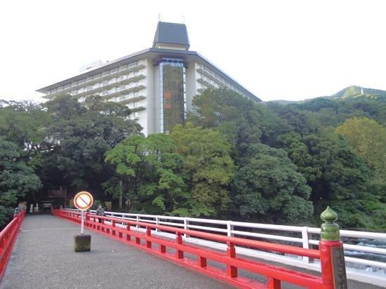 Yumoto Fujiya Hotel: The red bridge.