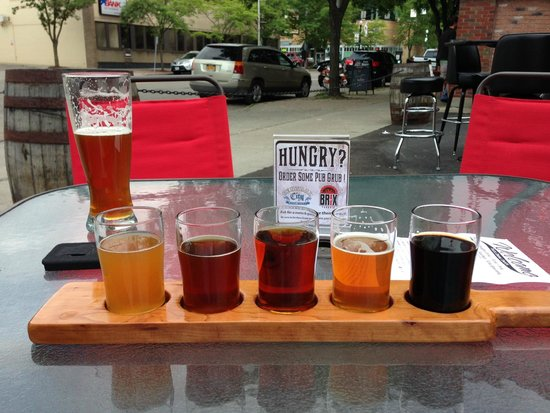 Cortland Beer Company: Outside at CBC with a flight.