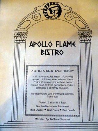Apollo Flame Bistro - Brevard: Front of Menu