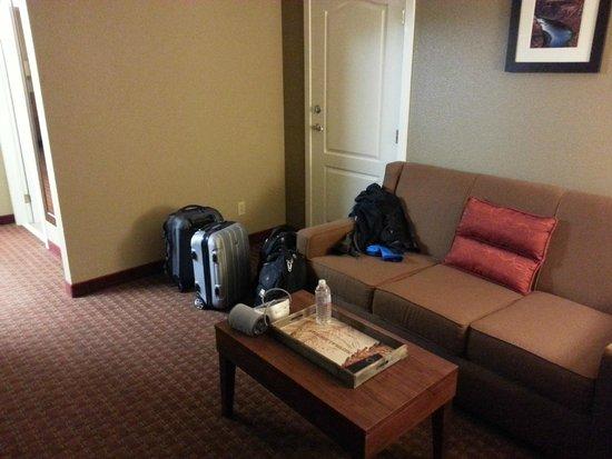 Comfort Inn & Suites Carbondale : couch in living area of king suite (door to adjoining room)