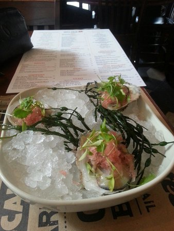 City Crab & Seafood Company: Stoney brooke oysters with watermelon ice and basil