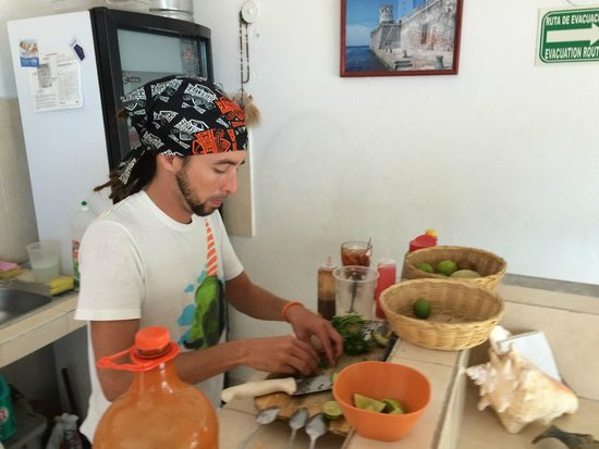 Navegante: One of the owners making my ceviche fresh right in front of me